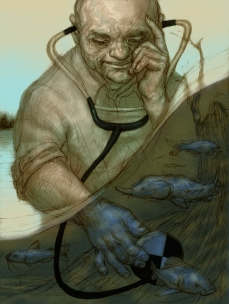 illustration of the work of a James River conservation worker