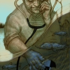 illustration of the work of a James River conservation worker
